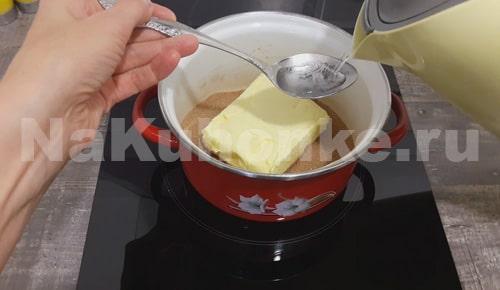 Масло растопить на плите